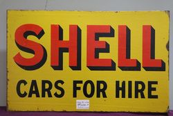 Shell Cars For Hire Enamel Double Sided Advertising Sign