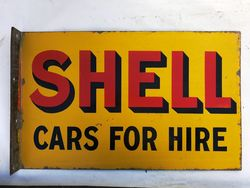 Shell Cars for Hire Postmount Enamel Sign