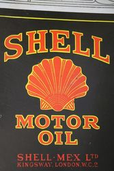 Shell Motor Oil Can Shaped  Hanging Enamel Advertising Sign