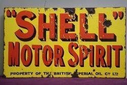 Shell Motor Spirit Double Sided Enamel Advertising Sign