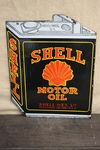 Shell Black Oil Can Double Sided Enamel Sign.