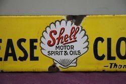 Shell Please Close Enamel Sign