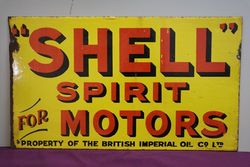 Shell Spirit Motors Double Sided Enamel Advertising Sign