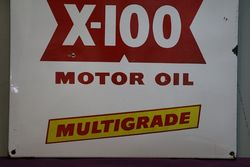 Shell X100 Motor Oil Multigrade Enamel Advertising Sign