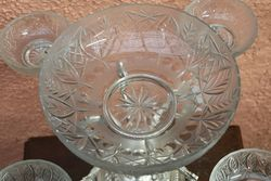Silver Plated Table Centerpiece With Cut Glass Bowl + 4 side Cut Glass