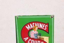 Singer Sewing Machine Enamel Advertising Sign
