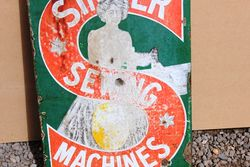 Singer Sewing Machine Enamel Double Sided Post Mount Advertising Sign