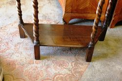 Small Oak Hall Table C1920 On Barley Twist Legs