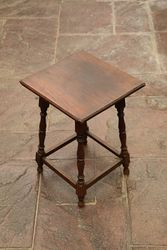 Small Oak Side Table With Turned Legs