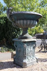 Small Sienna Cast Iron Urn On Base