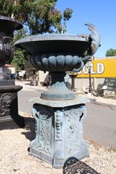 Small Sienna Cast Iron Urn On Base