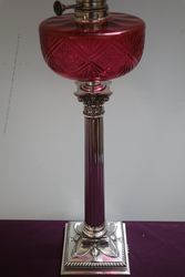 Stunning 19th Century Ruby Glass Oil Lamp