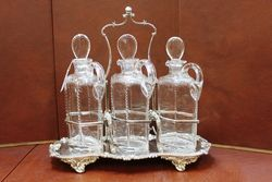 Stunning Antique 3 Bottle Cut Glass Tantlus On A Quality Silver Plated Base