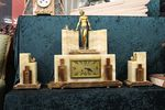 Stunning Art Deco 3 Piece Bronze And Marble Clock Set