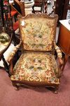 Stunning Late 19th Century French Walnut Carved Arm Chair
