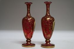 Stunning Pair Of Cameo Portrait Vases Fine Gilt on Ruby C1860