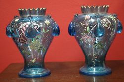 Stunning Pair of Mozart Glass Vases