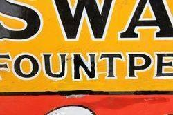Swan Fount Pens Enamel Advertising Sign