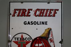 Texaco Gasoline Fire Chief Enamel Sign