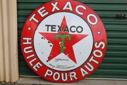 Texaco Huile Pour Autos Enamel Advertising Sign
