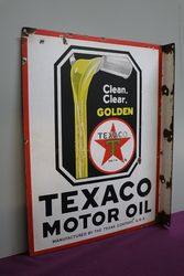 Texaco Motor Oil Doubled Sided Enamel Advertising Sign