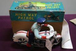 Tin Toy Masudaya Highway Patrol Police Motorcycle