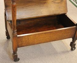 Tray Top Oak Tea Trolley with Lidded Compartment
