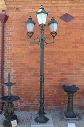 Tudor 3 Branch Cast Iron Garden Lamp