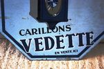 Vedette Wall Clock Double Sided Enamel Sign Arriving Nov