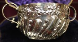 Victorian 2Handled Embossed Porringer London 1899