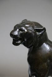 Victorian Bronze Lion on Marble Rock Style Base