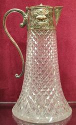 Victorian Cut Glass Silverplated Claret Jug