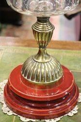 Victorian Oil Lamp  Cut Glass Font Original Shade C1900