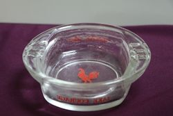 Vintage Beer Advertising Ashtray Take Courage Rooster Glass British Ale