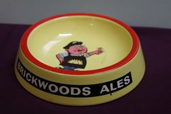 Vintage Brickwoods Ales Advertising China Ashtray