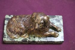Vintage Bronze Figure of a King Charles Cavalier On a Marble Base