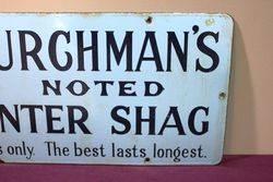 Vintage Churchmans Counter Shag Tobacco Enamel Sign