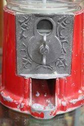 Vintage Red Carousel Bubble Gum Machine Cast Metal Glass Globe