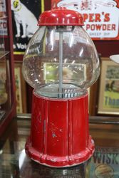 Vintage Red Carousel Bubble Gum Machine Cast Metal Glass Globe
