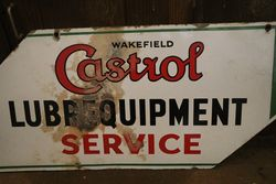 Wakefield Castrol Service Double Sided Enamel Advertising Sign