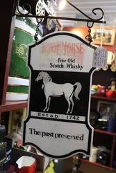 White Horse Fine Old Scotch Whisky  Double Side Hanging Pub Sign