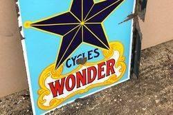 Wonder Cycles Post Mount Enamel Sign
