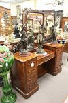 Wonderful English Burl Walnut Pedestal Dressing Table C1850