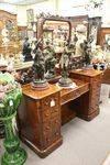 Wonderful English Burl Walnut Pedestal Dressing Table C1850