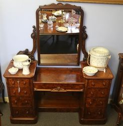 Wonderful English Burr Walnut Pedestal Dressing Table c1850