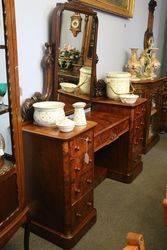 Wonderful English Burr Walnut Pedestal Dressing Table c1850