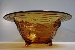 Wonderful Joblings Art Deco Amber Glass Koi Carp Pressed Bowl