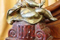 Wonderful Pair Of 19th Century Gilt Bronze Cherubs On Rouge Marble And Gilt Mounts