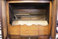 Antique Belgium Oak Cased Coin Operated Barrel Piano