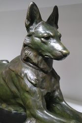 Bronze Of A Long Haired German Shepherd By Jules Edward Masson